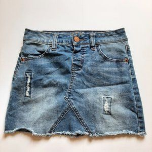Justice Girl's Distressed  Blue Wash Jeans Skirt